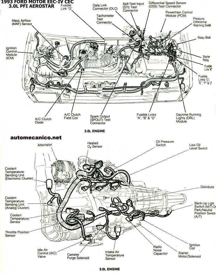 2000 explorer Diagrama del motor