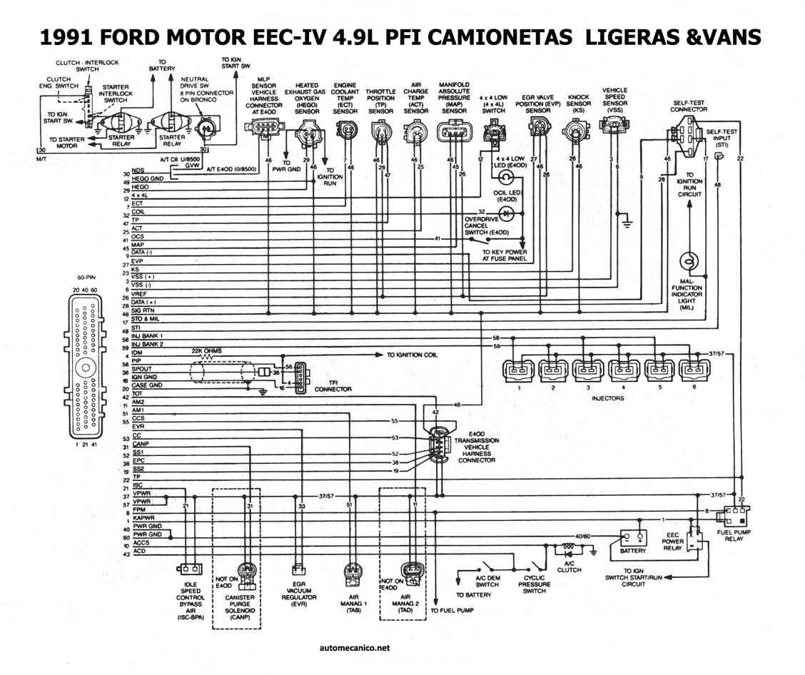91 ford probe diagrama de cableado