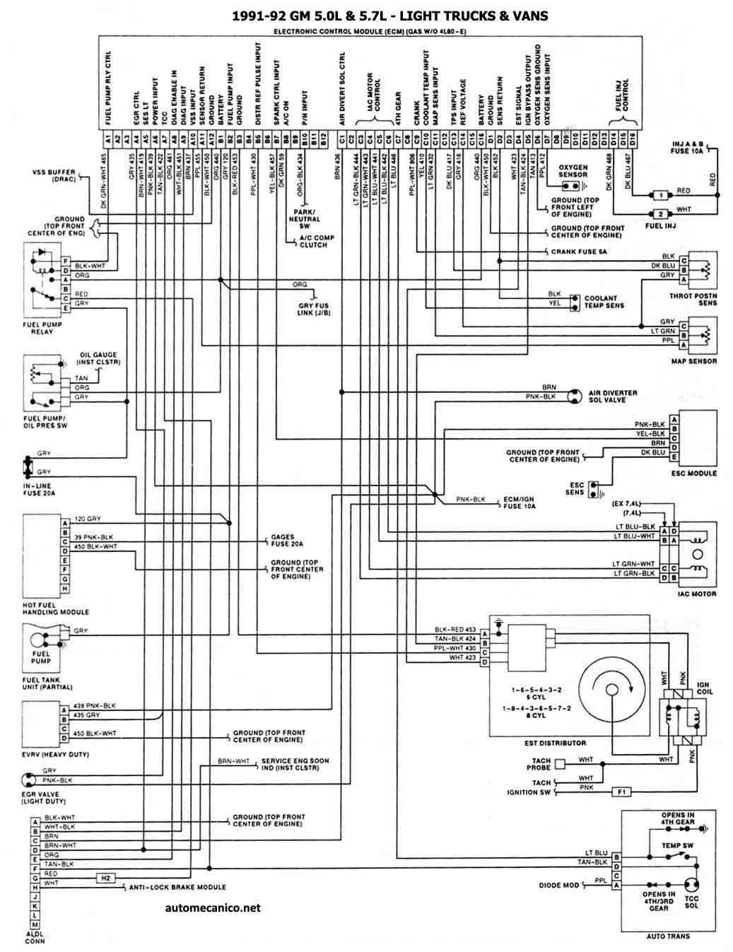 1991 corvette Motor diagrama de cableado