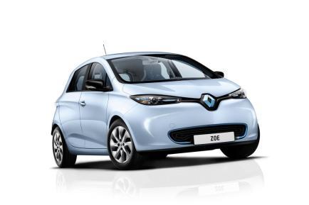 L'avant de la Renault ZOE en couleur bleu azur