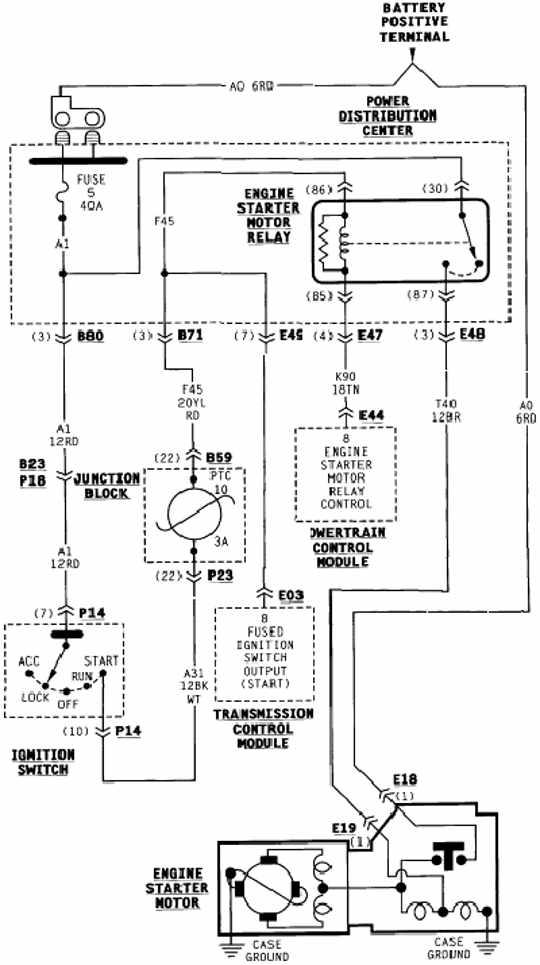 2000 dodge dakota starting system schematic diagram