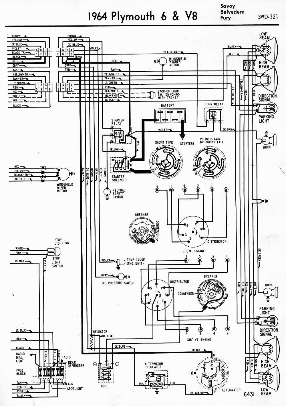 wiring diagrams of 1959 plymouth v8 all models