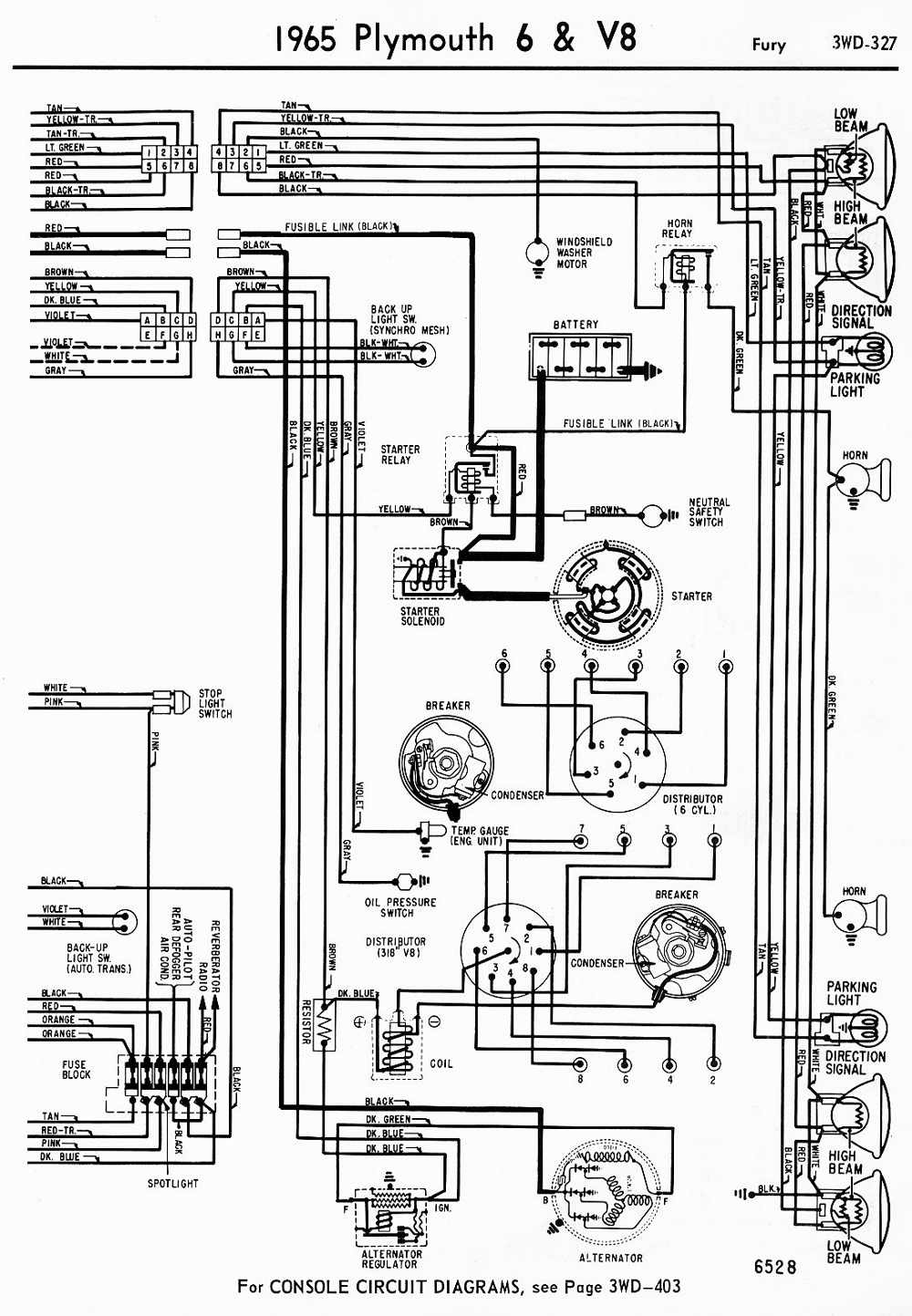 wiring diagrams of 1965 plymouth 6 and v8 belvedere part 1