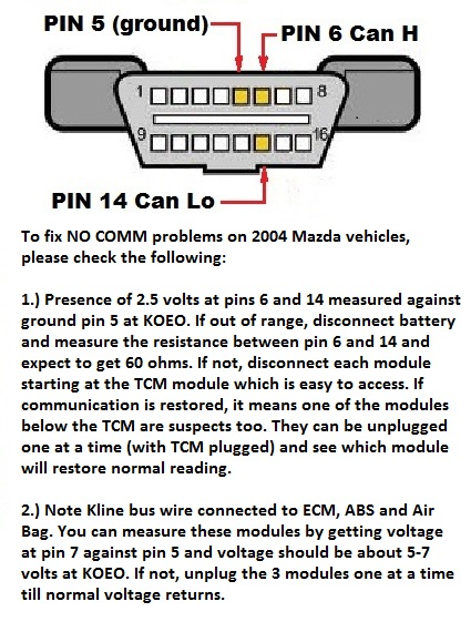Shortcut to fix NO Communication bus wiring problems for 2004 Mazda