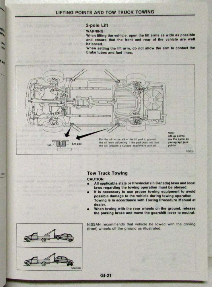 1991 Nissan Stanza Service Shop Repair Manual Model U12 Series