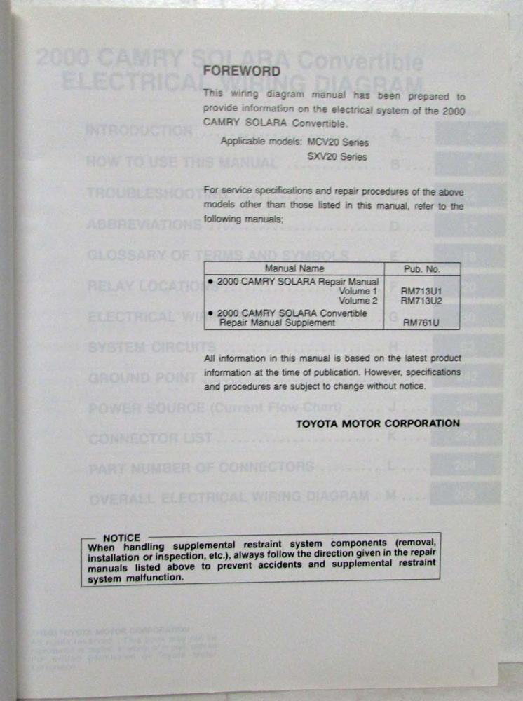 2000 Toyota Camry Solara Convertible Electrical Wiring Diagram Manual