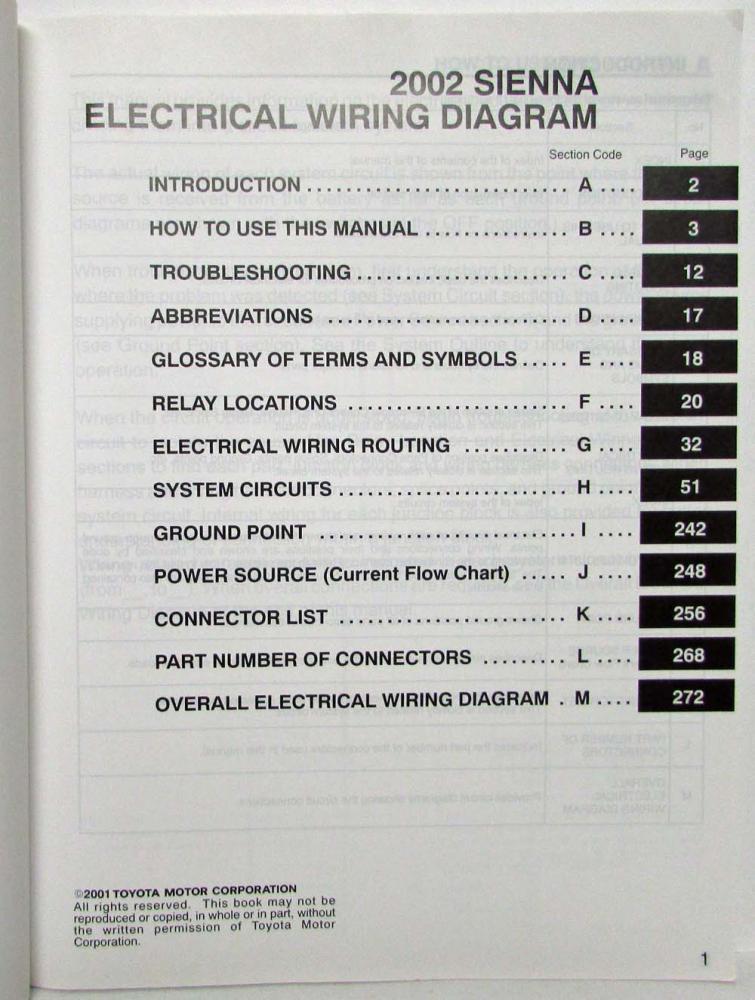 2002 Toyota Sienna Van Electrical Wiring Diagram Manual