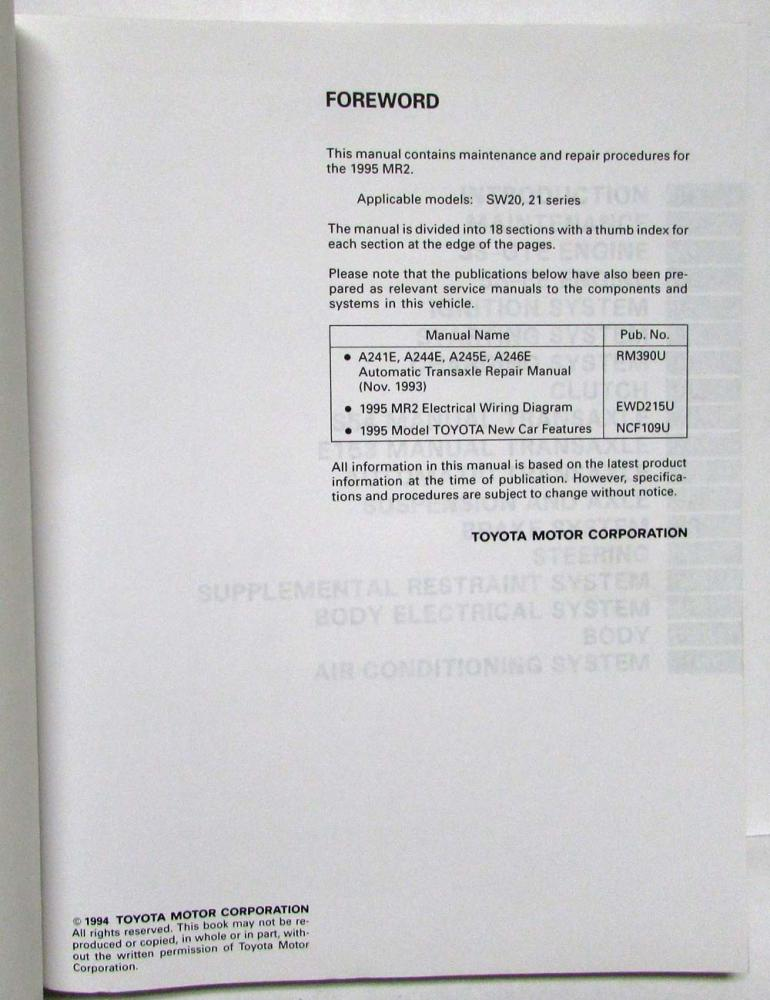 1995 Toyota MR2 Service Shop Repair Manual