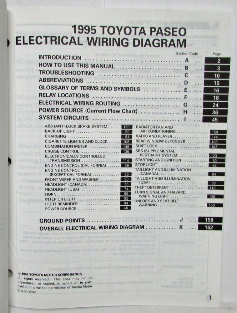 1995 Toyota Paseo Electrical Wiring Diagram Manual US  Canada