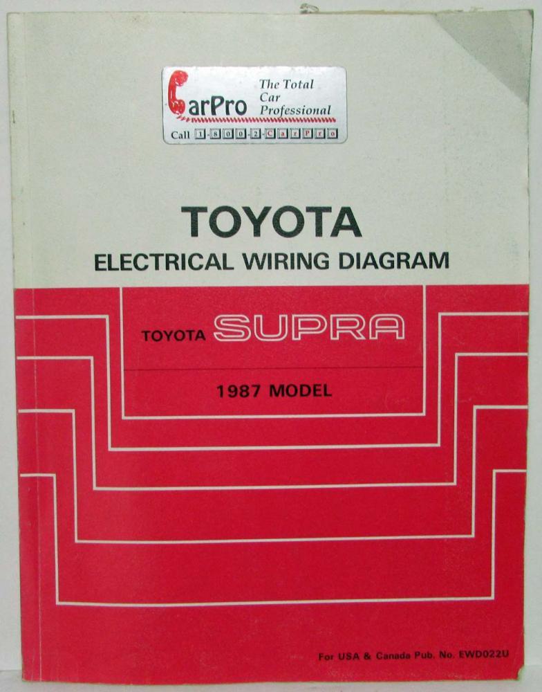 1987 Toyota Supra Electrical Wiring Diagram Manual US  Canada