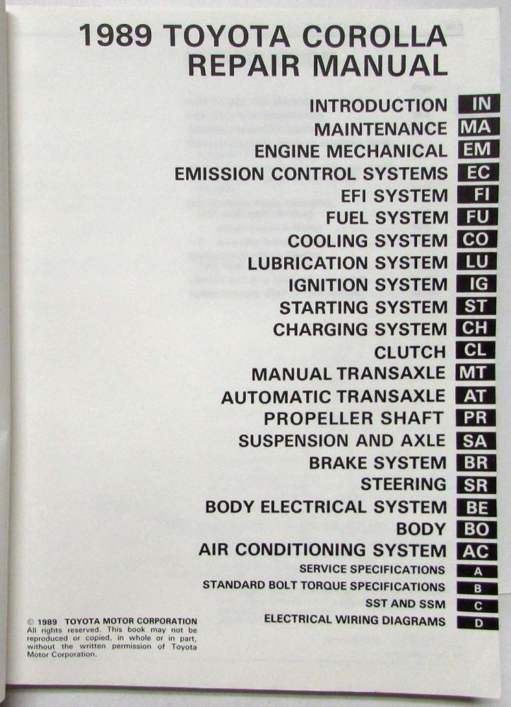1989 Toyota Corolla Service Shop Repair Manual US  Canada