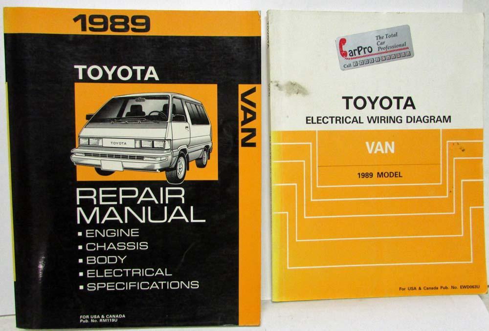 1989 Toyota Van Service Shop Repair Manual plus Electrical Wiring