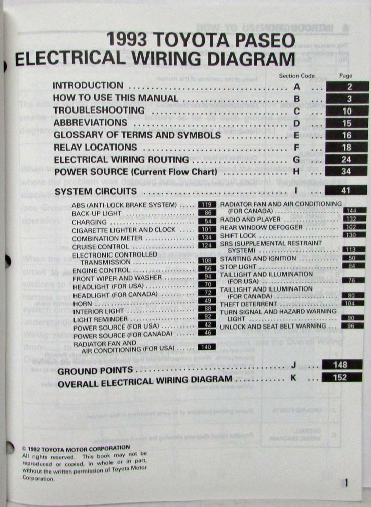 1993 Toyota Paseo Electrical Wiring Diagram Manual US  Canada