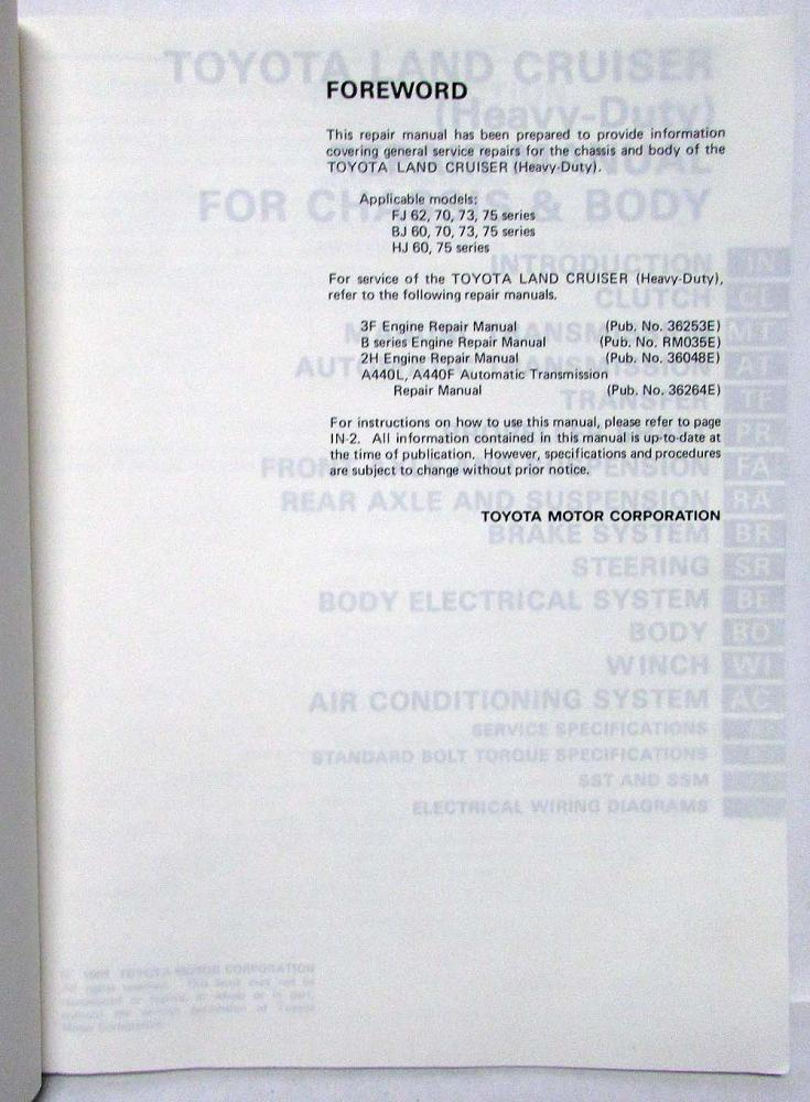 1985 Toyota Land Cruiser Service Shop Repair Manual Chassis  Body