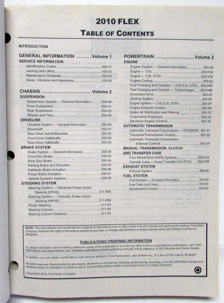 2010 Ford Flex Service Shop Repair Manual Set Vol 12
