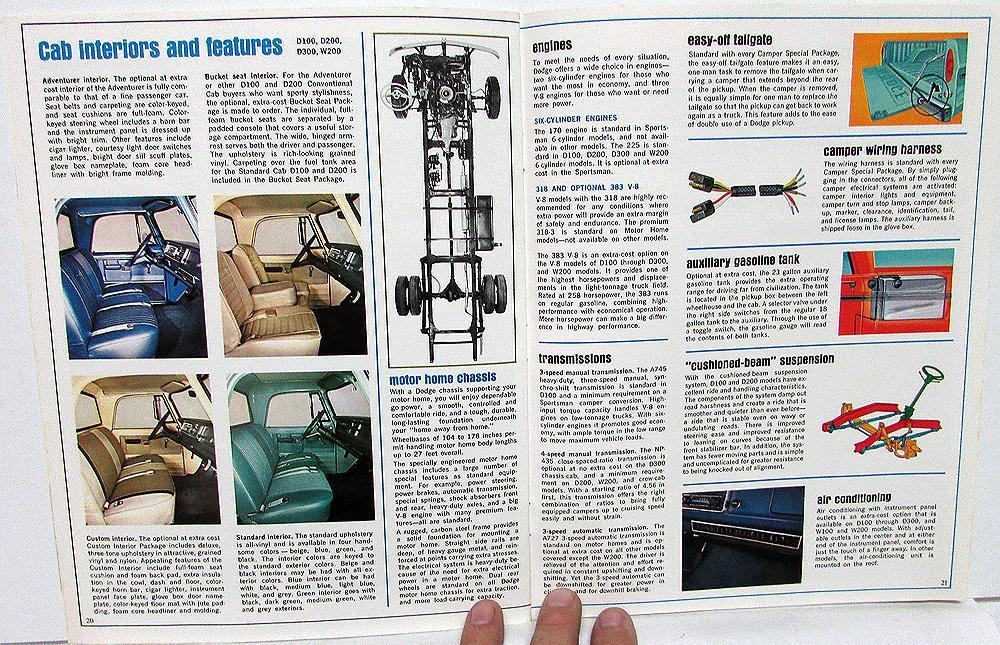 1969 Dodge Truck Dealer Sales Brochure RV Camper Motor Home Pickup