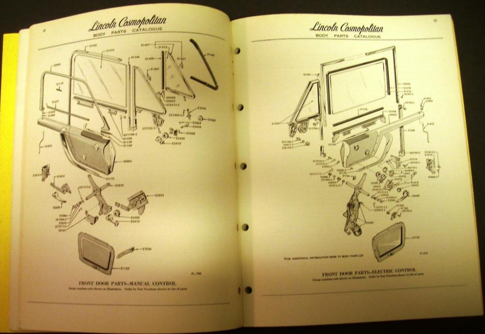 Original 1953 Lincoln Dealer Body Parts Catalog Book Cosmopolitan