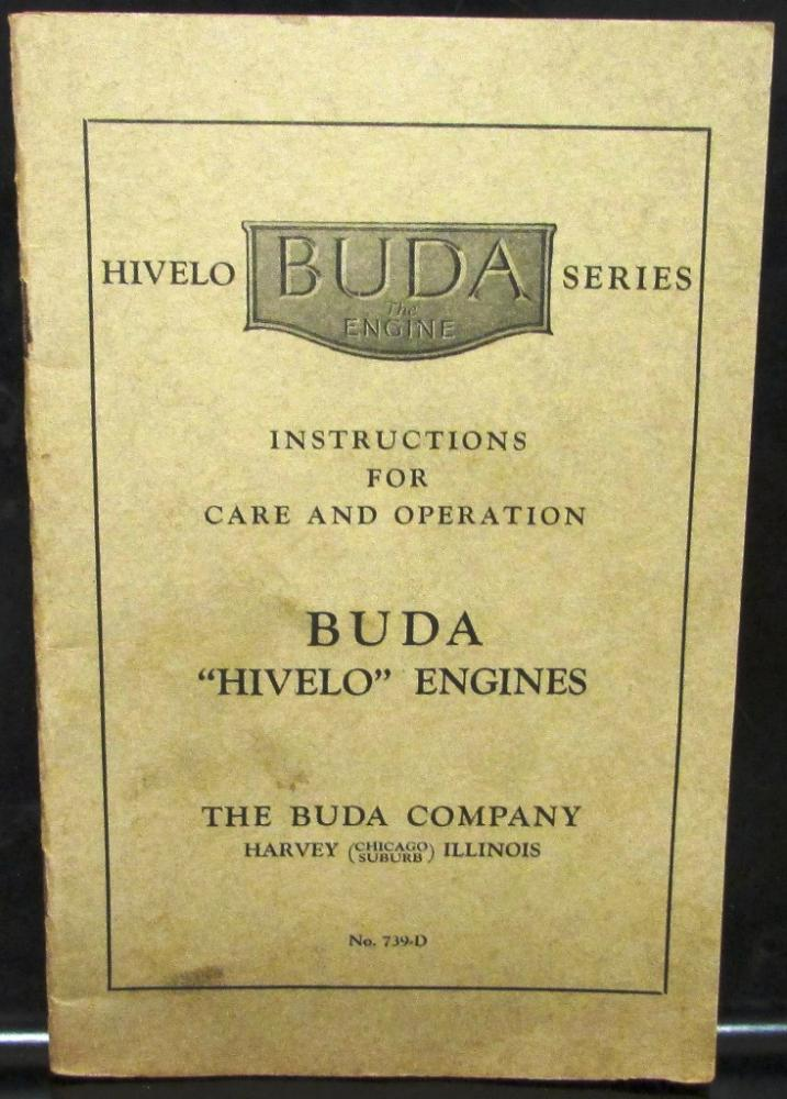 Buda Engines Owners Care \ Operation Manual Hivelo Series Harvey - operation manual