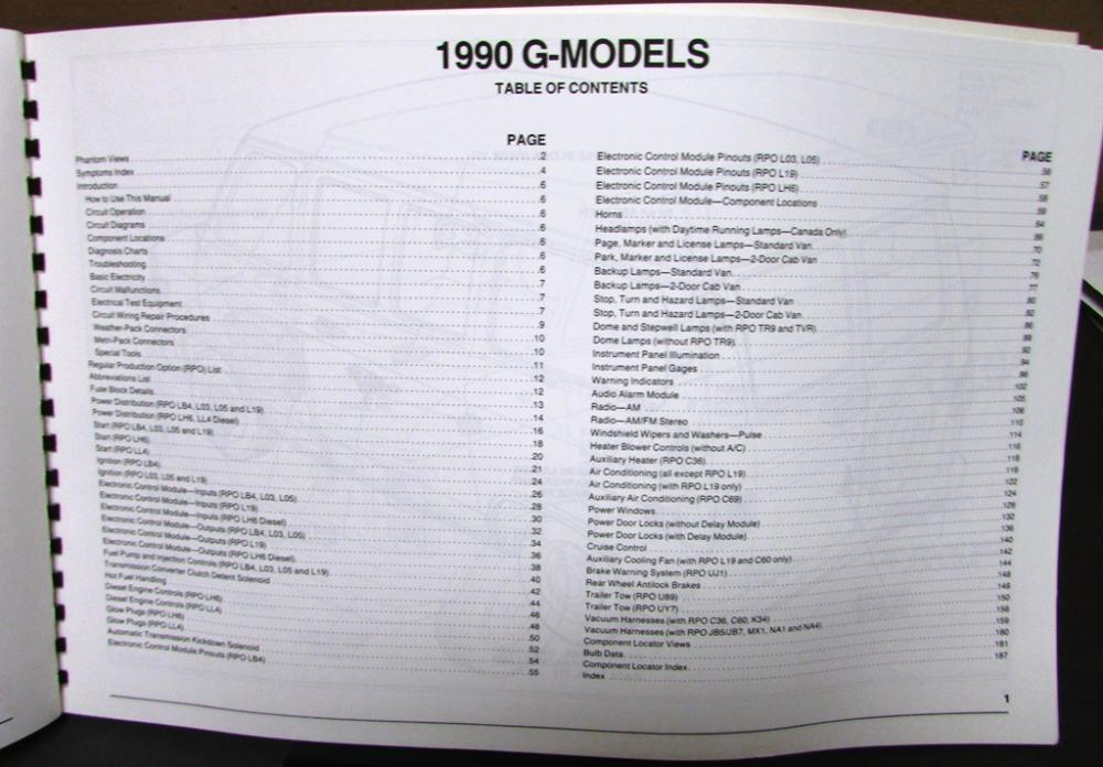 1990 GMC Electrical Wiring Diagram Service Manual Light Truck G