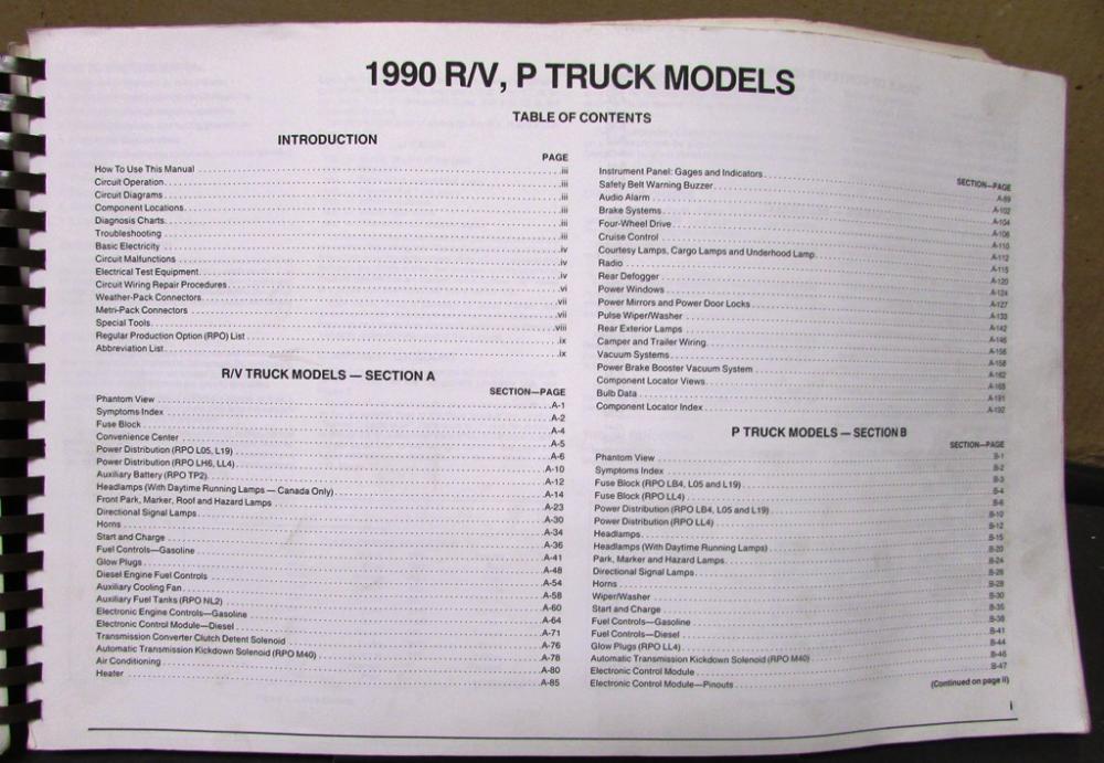 1990 GMC Electrical Wiring Diagram Service Manual Light Truck R/V P