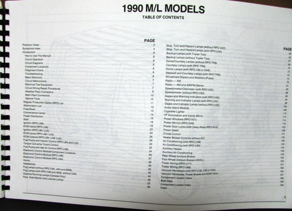 1990 Chevrolet Electrical Wiring Diagram Service Manual Astro Van Models