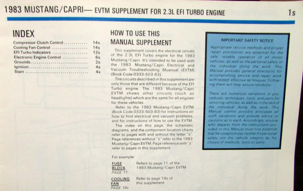 1983 Ford Mercury Electrical  Vacuum Diagram Manual Supplement
