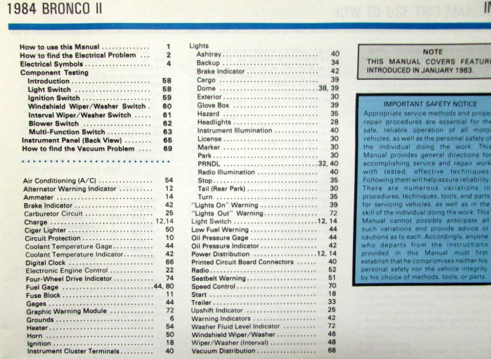 1984 Ford Dealer Electrical  Vacuum Diagram Service Manual Bronco II