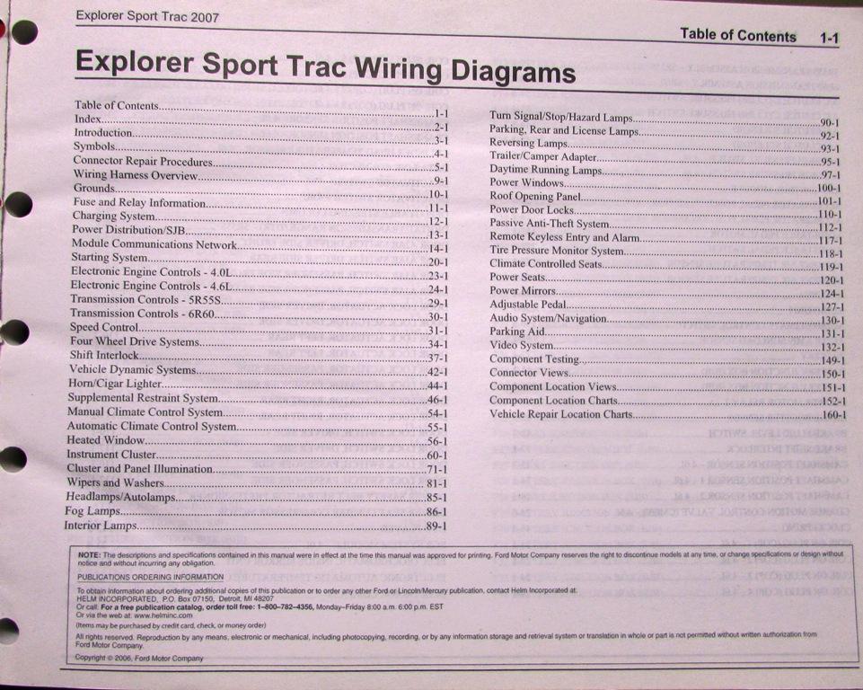 2007 Ford Dealer Electrical Wiring Diagram Service Manual Explorer