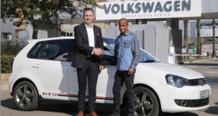 Chairman/Managing Director of Volkswagen Group South Africa,Thomas Schaefer, hands over keys of the sporty Polo Vivo GTS to Lusapho April.