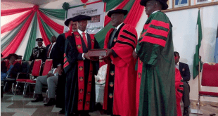 Vice President, Prof. Yemi Osinbajo, presenting the Doctor of Science honorary degree to Dr. Chukwuma at the 37th convocation ceremony for the cadets of the 63 Regular Course, Nigeria Defence Academy, NDA, Kaduna. With them are the Commandant, Maj-Gen. M. T. Ibrahim {right} and the Academy Provost, Prof. Nwankwo {behind the Vice President}.