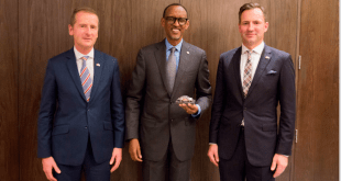 President Paul Kagame of Rwanda (middle) with the CEO, Volkswagen Brand, Dr. Herbert Diess, (left) and Managing Director, Chairman of the Volkswagen Group SA, Thomas Schaefer at the agreement signing ceremony in Kigali…recently