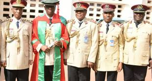 Corps Marshal Oyeyemi with Assistant Corps Marshal Sam Obayemi (third from left), Commander Bisi Kazeem, Head, Media & Strategy of the Corps (first from right) and other top Commanders at the ceremony  (PHOTO, Courtesy, Bisi Kazeem)