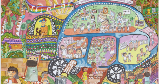 """""""Toyota Knowledge Paradise Car"""" was submitted by seven-year-old Thushadi Indraratne from Sri Lanka. Describing her entry, she said : """"This car provides everyone with a clean environment, sensibilities and knowledge related to sharing, health and education for building a better future."""""""