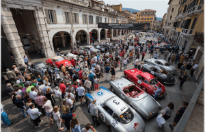 "Mille Miglia 2017- Mercedes-Benz Classic cars. Left to right- 300 SL racing sports car (W 194), 190 SL (W 121), 300 SL ""Gullwing"" Coupés (W 198). Stage from Brescia to Padua, 18 May 2017"
