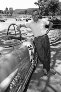 Paul O'Shea next to his Mercedes-Benz 300 SLS touring sports car (W 198) during the 1957 US sports car championship.
