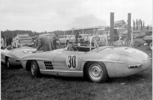 Mercedes-Benz 300 SLS touring sports car (W 198). Two of these specially constructed vehicles were raced by Paul O'Shea in the 1957 US sports car championship, which he won.
