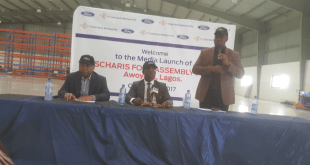 President/ CEO, Coscharis Group, Dr. Cosmas Maduka,CON.(middle) is flanked by the Group Executive Director ( Operations), Fred Amobi (left) and General Manager, Marketing & Corporate Communications, Abiona Babarinde, at the media launch of the Coscharis  Motors Assembly Plant in Awoyaya, Lekki, Lagos...recently.