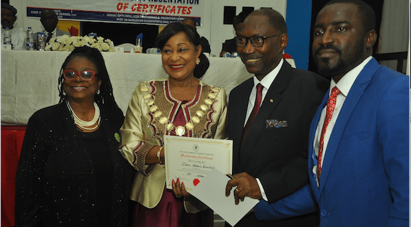 From left:  Vice President, Lagos Chamber of Commerce and Industry (LCCI), Mrs. Toki Mabogunje; President, LCCI, Chief (Mrs) Nike Akande ; Vice President, Kia Motors Nigeria, Mr. Olu Tikolo ; and  Marketing Manager, Kia Motors Nigeria, Mr. Jimoh Olawale,  at the LCCI  New Members' Induction Ceremony  in Lagos where Kia Motors Nigeria was inducted as a member….recently