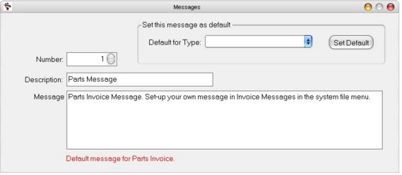 Messages - Invoice, Email, SMS - how to type up an invoice