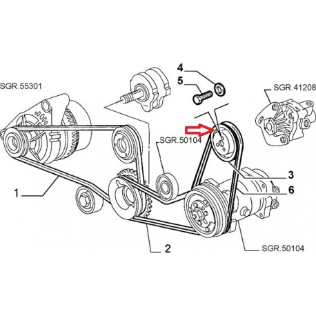Pulley 60590414 - Alfa Romeo GTV / SPIDER autostoria alfa romeo
