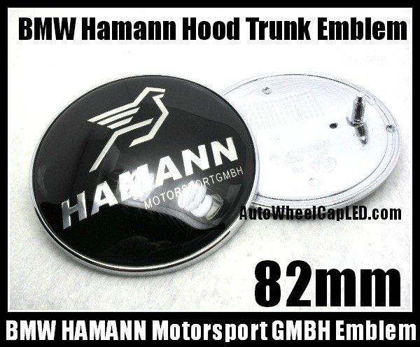Bmw Hamann 82mm Black Silver Hood Trunk Bonnet Boot Emblem