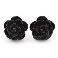 Tiny Black 'Rose' Stud Earrings In Silver Tone Metal ...