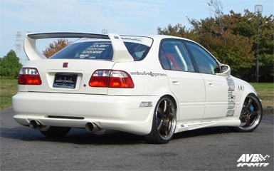 Car With Jdm Stickers Wallpaper Rear Wing 2 4d For Honda Civic 1996 1998 Avb Sports