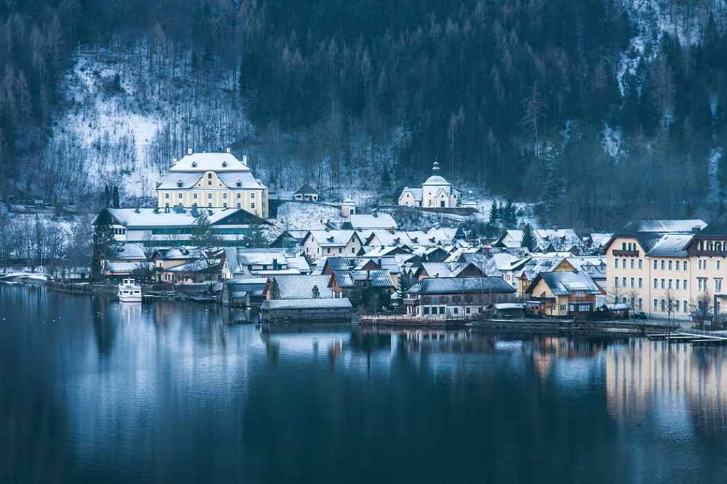 Small historical city Hallstatt in winter Austria