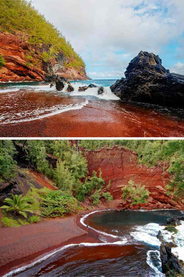 Kaihalulu Red Sand Beach – Hana, Hawaii. Ever been to a beach with giant ice cubes all over? Or what about a reandom hole in the ground that opens up into a beautiful beach! Click through to see 15 more of the world's most unique & awesome beaches!