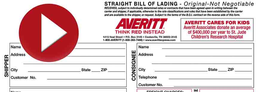 Create a Bill of Lading Averitt Express - shipping bol