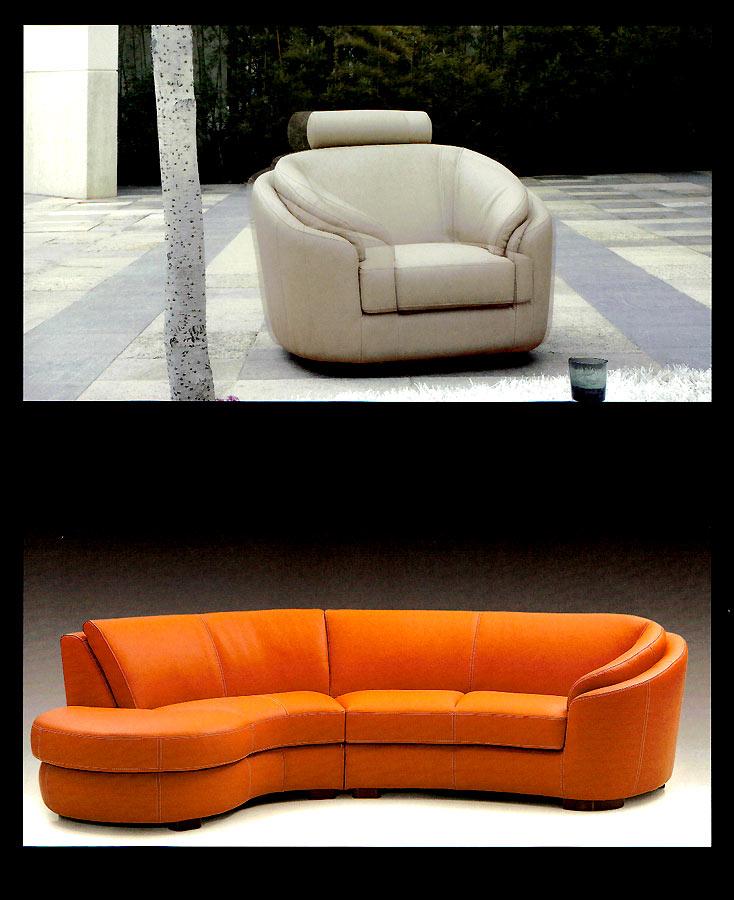 Round Modern Italian leather Sofa M56