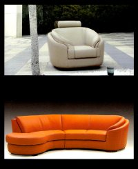 Round Modern Italian leather Sofa M56 | Leather Sectionals