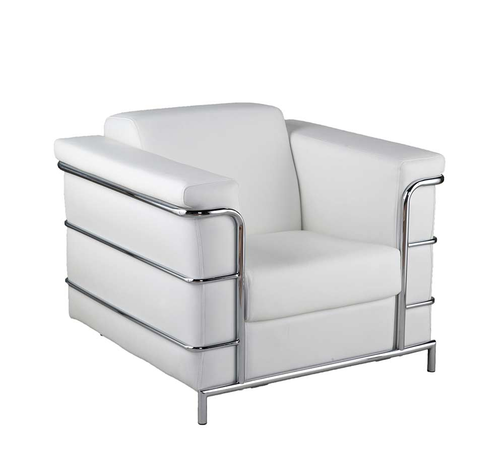 Modern Leather Arm Chair Estyle 811 In White Accent Seating