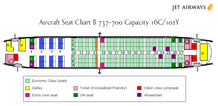 JET AIRWAYS Airlines Aircraft Seatmaps - Airline Seating Maps and